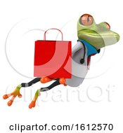 3d Green Doctor Frog Holding A Shopping Bag On A White Background