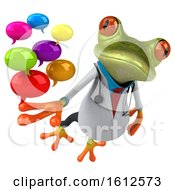 3d Green Doctor Frog Holding Messages On A White Background