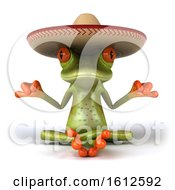 Clipart Of A 3d Meditating Green Frog Wearing A Sombrero Hat On A White Background Royalty Free Illustration