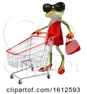 Clipart Of A 3d Green Female Frog Shopping In A Red Dress On A White Background Royalty Free Illustration