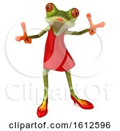 3d Green Female Frog Dancing In A Red Dress On A White Background