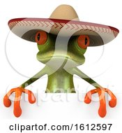 Clipart Of A 3d Green Frog Wearing A Sombrero Hat On A White Background Royalty Free Illustration by Julos