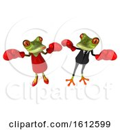 Poster, Art Print Of 3d Green Frog Couple Wearing Boxing Gloves And Fighting On A White Background