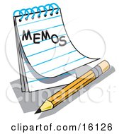Notepad With Lined Pages With Memos Written On The Front Resting By A Yellow Number Two Pencil With An Eraser Clipart Illustration