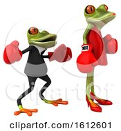 Clipart Of A 3d Green Frog Couple Wearing Boxing Gloves And Fighting On A White Background Royalty Free Illustration