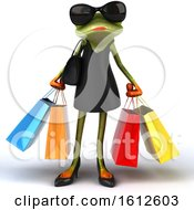 Clipart Of A 3d Green Female Frog In A Black Dress Carrying Shopping Bags On A White Background Royalty Free Illustration