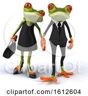 Clipart Of A 3d Formal Green Springer Frog Couple Holding Hands On A White Background Royalty Free Illustration