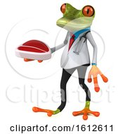 Clipart Of A 3d Green Doctor Frog Holding A Steak On A White Background Royalty Free Illustration