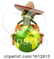 Clipart Of A 3d Green Mexican Frog Hugging Earth On A White Background Royalty Free Illustration by Julos
