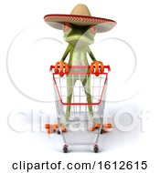 Clipart Of A 3d Green Mexican Frog Pushing A Shopping Cart On A White Background Royalty Free Illustration by Julos