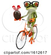 Clipart Of A 3d Green Frog Holding A Chocolate Egg On A White Background Royalty Free Illustration