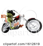 Clipart Of A 3d Green Frog Biker Riding A Chopper Motorcycle On A White Background Royalty Free Illustration