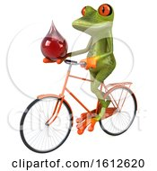 Clipart Of A 3d Green Frog Holding A Blood Drop On A White Background Royalty Free Illustration