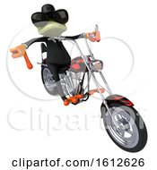 Clipart Of A 3d Green Business Frog Biker Riding A Chopper Motorcycle On A White Background Royalty Free Illustration