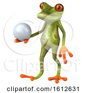 3d Green Frog Holding A Golf Ball On A White Background