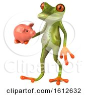 3d Green Frog Holding A Piggy Bank On A White Background