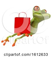 3d Green Frog Holding A Shopping Bag On A White Background
