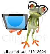 3d Green Frog Holding A Tablet On A White Background