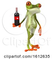 3d Green Frog Holding Wine On A White Background