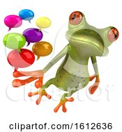 3d Green Frog Holding Messages On A White Background
