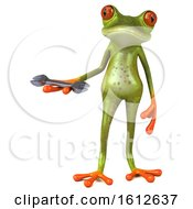 3d Green Frog Holding A Wrench On A White Background