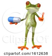 3d Green Frog Holding A Pill On A White Background