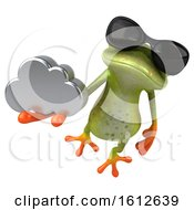 3d Green Frog Holding A Cloud On A White Background