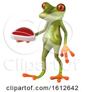 Clipart Of A 3d Green Frog Holding A Steak On A White Background Royalty Free Illustration