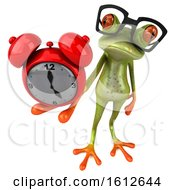 3d Green Frog Holding An Alarm Clock On A White Background