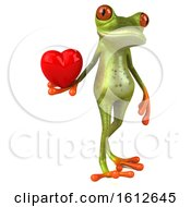 3d Green Frog Holding A Heart On A White Background
