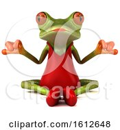 3d Green Female Frog Meditating On A White Background