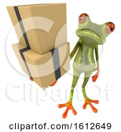 3d Green Frog Holding Boxes On A White Background