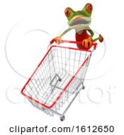 3d Green Female Frog Pushing A Shopping Cart On A White Background