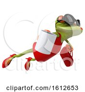 3d Green Female Frog Holding A Coffee On A White Background