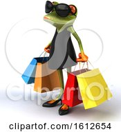 3d Green Female Frog Carrying Shopping Bags On A White Background