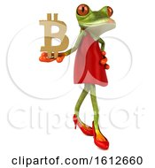 3d Green Female Frog Holding A Bitcoin Symbol On A White Background