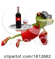 3d Green Female Frog Holding Wine On A White Background
