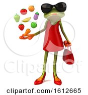 Clipart Of A 3d Green Female Frog Holding Produce On A White Background Royalty Free Illustration