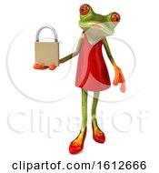 3d Green Female Frog Holding A Padlock On A White Background