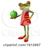 3d Green Female Frog Holding An Apple On A White Background