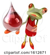Clipart Of A 3d Green Female Frog Holding A Blood Drop On A White Background Royalty Free Illustration