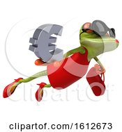 3d Green Female Frog Holding A Euro On A White Background