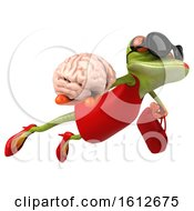 3d Green Female Frog Holding A Brain On A White Background