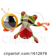 3d Green Female Frog Holding A Tv On A White Background