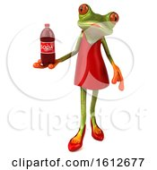 3d Green Female Frog Holding A Soda On A White Background