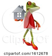 3d Green Female Frog Holding A House On A White Background