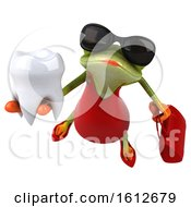 3d Green Female Frog Holding A Tooth On A White Background
