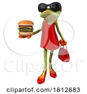 Clipart Of A 3d Green Female Frog Holding A Burger On A White Background Royalty Free Illustration