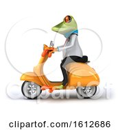 Clipart Of A 3d Green Doctor Frog Riding A Scooter On A White Background Royalty Free Illustration