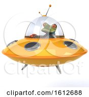 Clipart Of A 3d Green Doctor Frog Flying A Ufo On A White Background Royalty Free Illustration